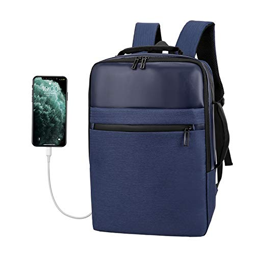 Xnuoyo Laptop Zaino Antifurto, 15,6 Pollici Laptop Impermeabile Borsa da Scuola Portatile con Porta USB di Ricarica Interfaccia Cuffie Zaino da Viaggio per Il Viaggio per Uomini Donne(Blu)