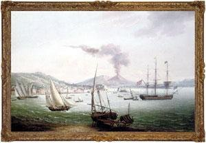 An English frigate amidst much activity in the Bay of Naples with Vesuvius erupting beyond
