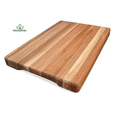 NaturalDesign Cutting Board 16 x 10 x 1.6 inch Edge Grain Chopping Block Wood: Maple & Oak Hardwood Extra Thick Appetizer Serving Platter Durable & Resistant