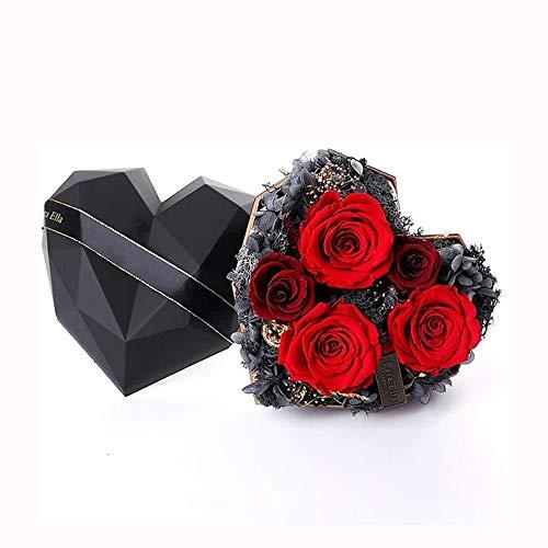 ZLSP Flores artificiais, rosa vermelha eterna feita à mão, adequada para meninas, dia dos namorados, casamento, aniversário, presente