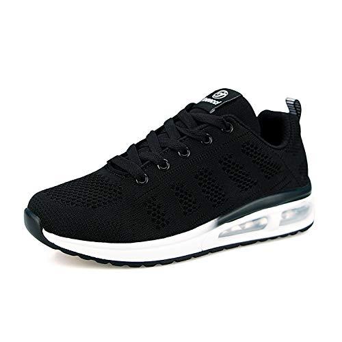 Air Zapatillas de Running para Mujer Zapatos de Fitness Gimnasia Ligero Sneakers Malla para Correr y Asfalto Aire Libre Deportes,Calzado Transpirable con Cordones(Negro, 37 EU)