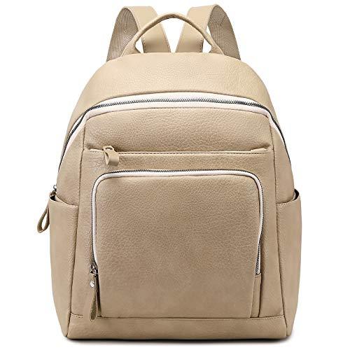 Myhozee Damen Rucksack Elegant PU Leder Rucksackhandtasche Casual Wasserdicht Schultasche Daypack Backpack Rucksäcke (Beige)