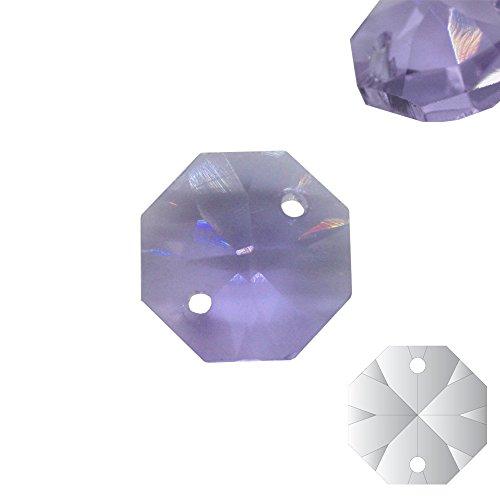 Christoph Palme 10x kristallen koppen paars 14mm 2-gats Alexandriet Octagon gekleurde achthoek stenen gordijn voor kroonluchter en hobby