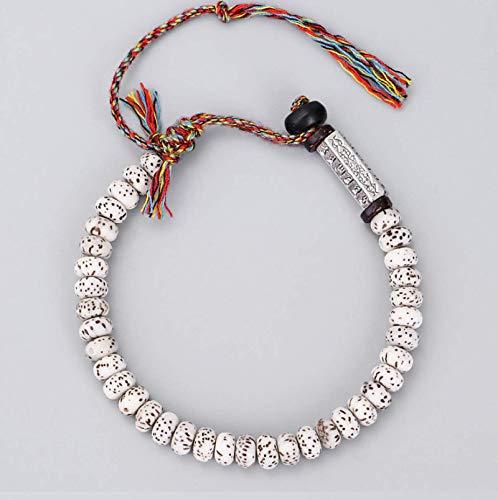 JONJUMP Pulsera tibetana budista trenzada con nudos de la suerte, hecha a mano, cuentas naturales Bodhi talladas amuleto para hombres y mujeres