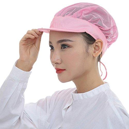 Enerhu Chef Mesh Hat Cook Catering Cap Men Women Breathable Adjustable Pink