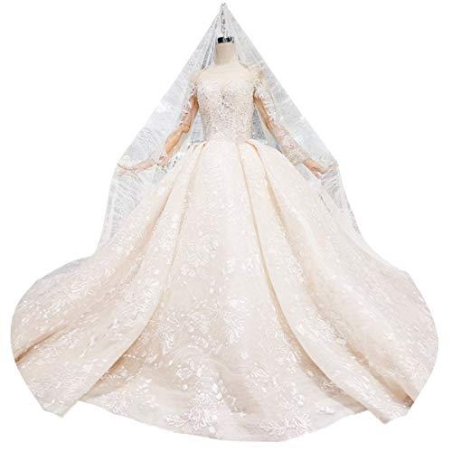 Zbigailr Französisches Retro Design Brautkleid, handgefertigte benutzerdefinierte Abendkleid, Erwachsenen Kleid Champagner Brautkleid Hochzeitskleid (Size : US14)