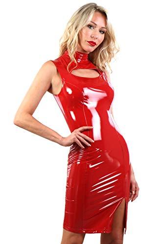 Miss Noir Damen Vinylkleid im Wetlook S-3XL mit Reißverschluss Sexy Lackleder Kleid Exklusives Clubwear (Rot (Red 20332), S)