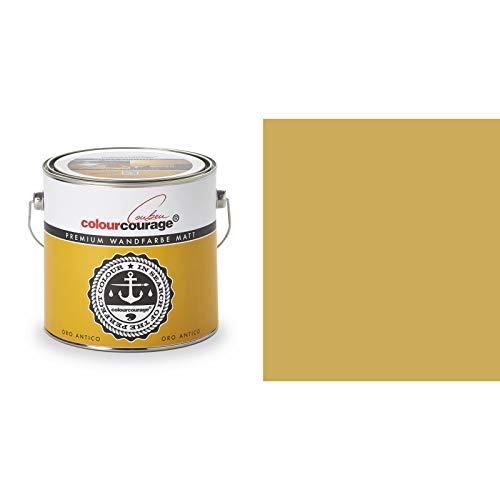 2,5 Liter Colourcourage Premium Wandfarbe Oro Antico Gold Gelb | L719778589 | geruchslos | tropf- und spritzgehemmt