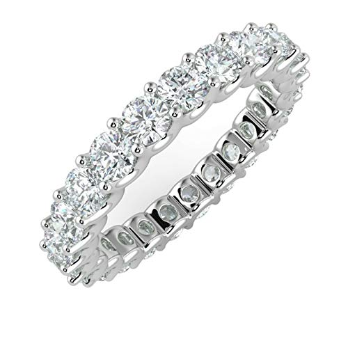 1.00Ct Round Diamond Claw Set U Prong Full Eternity Ring in 9k White Gold Size J