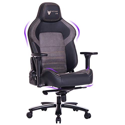 FANTASYLAB Big and Tall Gaming Chair, Memory Foam, Computer Game Chair, 4D Arm, 400lb Metal Base, Reclines Ergonomic High-Back Racing Desk Office Chair