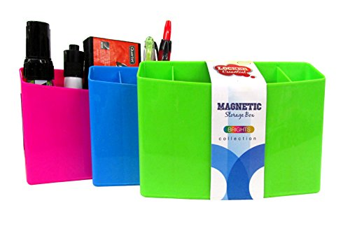 """3 Section Magnetic Organizer/Locker Organizer - Pencil, Pen, Dry Erase Accessory Holder - Dimensions: Approximately 4"""" x 5.5"""" x 1.5"""" (3-Pack, Colors Will Vary)"""