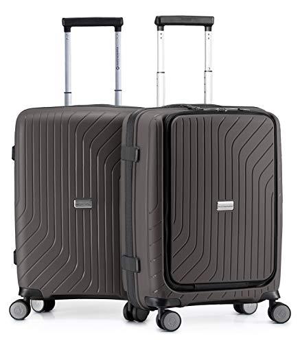 HAUPTSTADTKOFFER - TXL - leichtes Handgepäck, 2er Set mit Laptopfach, Bordgepäck Trolleys aus robustem Polypropylen, 55 cm, TSA-Schloss, Titan