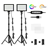 Emart RGB LED Photography Light with 51 inch Extendable Selfie Stick & Tripod Stand, Dimmable Video Light with Mini Table Tripod Stand, Portrait Shooting, YouTube DSLR Lighting