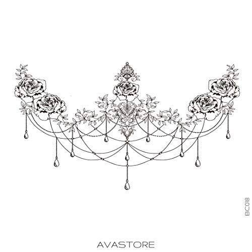 Avastore temporäre Tattoos, für Damen, Rosenmotiv, Halskettendesign, Perlen, Rosa, sexy