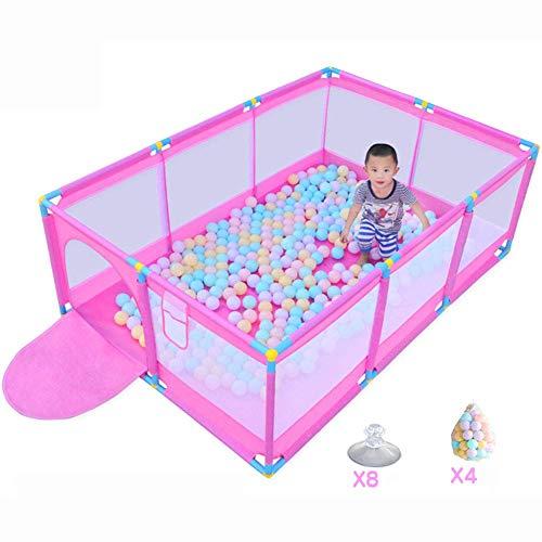 WSY Klappbarer Baby-Laufstall, Indoor- und Outdoor-Sicherheits-Spielcenter-Paddock-Aktivitätsbereich, Zaun mit 200 Bällen, rosaWSY