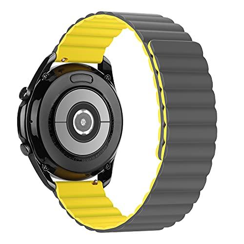 Tasikar 20mm Cinturino Compatibile con Samsung Galaxy Watch 4/4 Classic/Huawei Watch GT2, Cinturin Silicone con Chiusura Magnetica [Indossabile Due Lati] per Galaxy Active 2/Watch 3 (Giallo-Grigio)