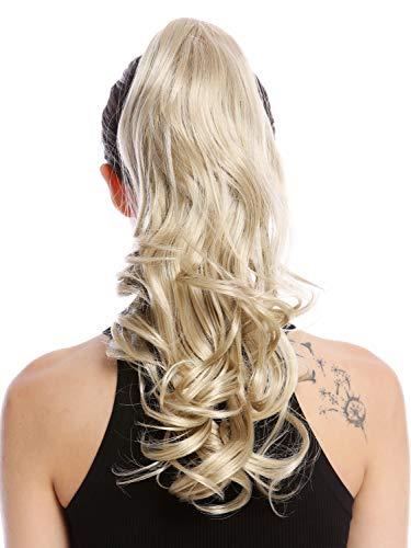 WIG ME UP - MKB-30-V-22 Postiche couette queue de cheval longue ondulé légèrement bouclé blond champagne clair 45 cm