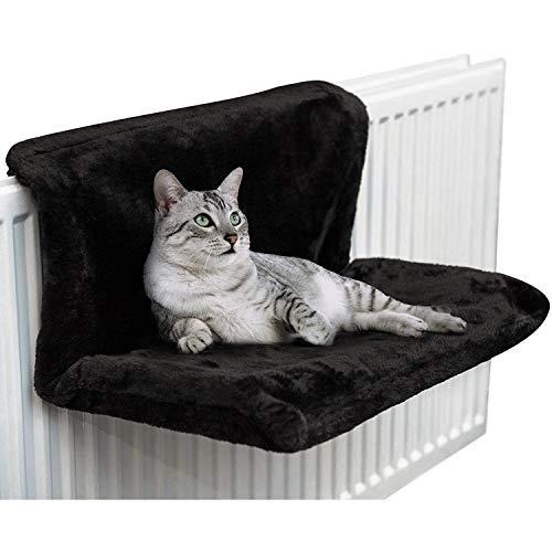 CawBing Cama de radiador colgante para gatos, gatitos, mascotas y animales, cálida cesta de forro polar, hamaca, marco de metal duradero, fuerte y duradera, color negro