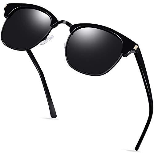 KANASTAL Gafas de Sol semi sin Montura Polarizadas para Hombres y Mujeres, Clásicas Retro Medio Marco Gafas de Sol