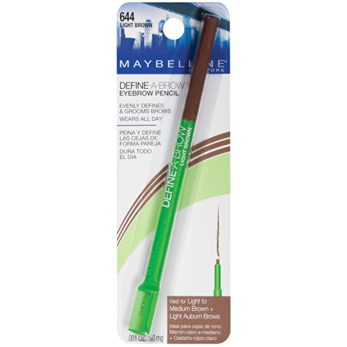 Maybelline Define-A-Brow Eyebrow Pencil, Light Brown [644] 0.001 oz (Pack of 6)