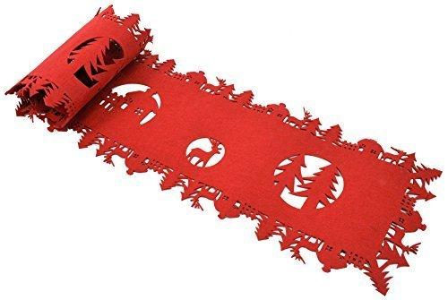 Camino de mesa de Navidad de fieltro de lana - colour rojo - 120 x 30 cm - camino de mesa de diseño de Mantel