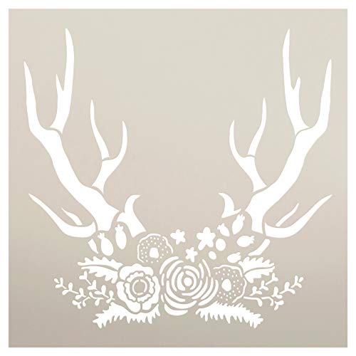 "Antlers & Flowers Stencil with Leaves by StudioR12 | DIY Boho Chic Wedding Decor | Craft Rustic Bohemian Floral Wall Art | Paint Wood Signs | Reusable Mylar Template | Select Size (11"" x 11"")"