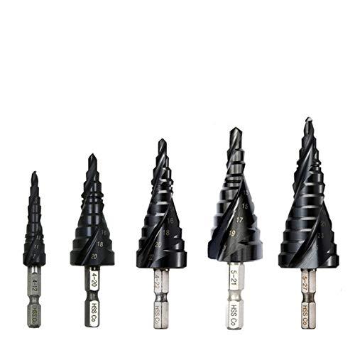 Wohren M35 Cobalt Stufenbohrer 4-12/4-20/4-22/5-21/5-27mm TiAIN Bohrer Spiral Groove Quick Change Shank for Edelstahl Werkzeug (Color : 5 27mm(12 steps))