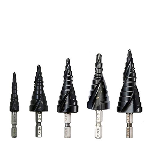 CJIANHUA Tools M35 Cobalt Step Drill 4-12/4-20/4-22/5-21/5-27mm TiAIN Drill Bit Spiral Groove Quick Change Shank for Stainless Steel All New Never Used (Color : 4 12mm(5 Steps))