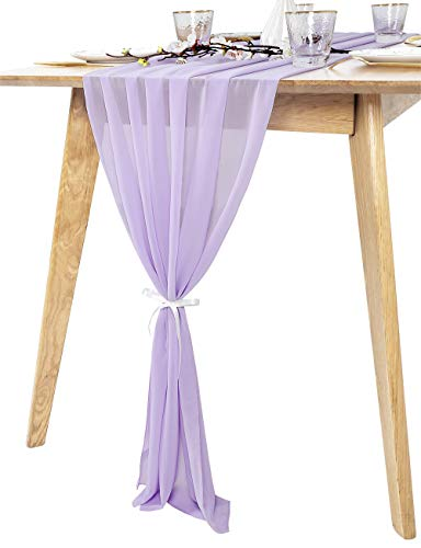 QueenDream 10Ft Light Purple Sheer Chiffon Table Runner for Wedding Decor Boho Party Bridal Shower Home Table Decorations