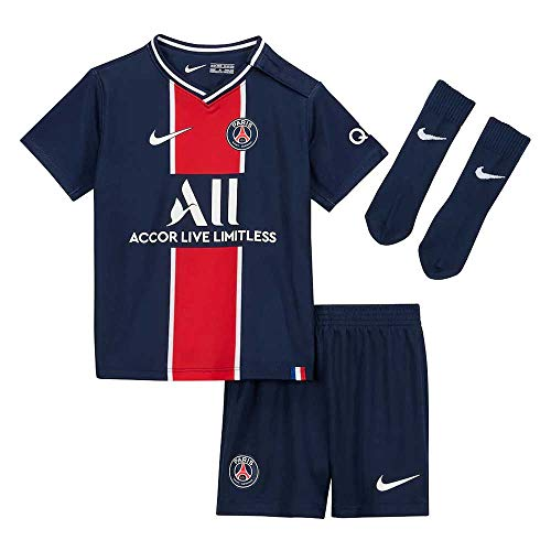 NIKE PSG I NK BRT Kit Hm Football Set, Unisex niños, Midnight Navy/White Full Sponsor, 18-24M