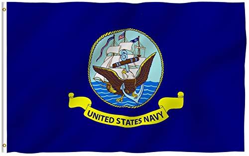 ANLEY Fly Breeze 3x5 Foot Bandeira da Marinha dos EUA - Cor vívida e UV resistente ao desbotamento - Cabeçalho de lona e costura dupla - Bandeiras militares navais de poliéster dos Estados Unidos