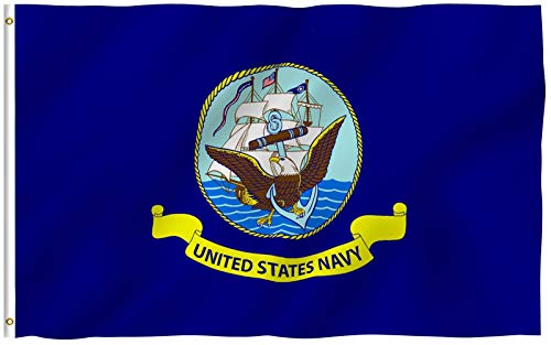 Anley Fly Breeze 3x5 Foot US Navy Flag - Vivid Color and UV Fade Resistant - Canvas Header and Double Stitched - United States Naval Military Polyester Flags with Brass Grommets 3 X 5 Ft