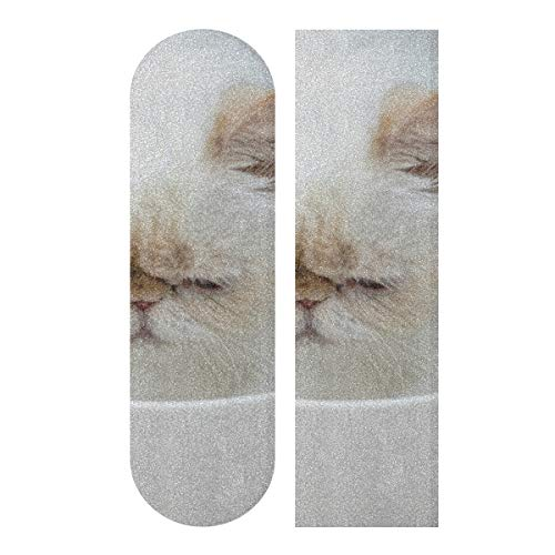 N\A 33.1x9.1inch Sport Outdoor Skateboards Grip Tape Niedlich verärgert Traurig Unglücklich Cat Beauty Tierkörperdruck Wasserdichter Longboard Aufkleber Für Tanzbrett Double Rocker Board Deck 1 Blatt