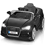 Costzon Ride On Car, Licensed Audi A3 12V Battery Powered Ride-On Vehicle, Manual/Parental Remote Control Modes with Headlights, MP3, Music, High/Low Speeds, 2WD (Black)