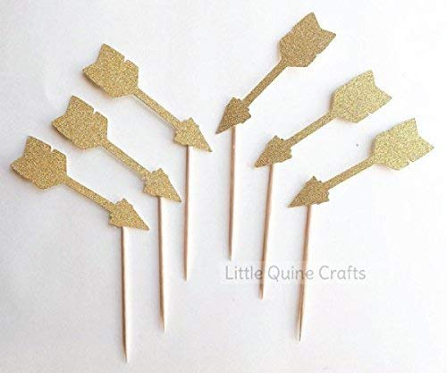 12 pcs arrows boho bohemian tribal theme Gold Glitter Cupcake dessert Topper for Birthday Baby wedding Shower party