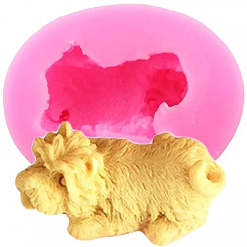 JINGYUA Moldes de Silicona para Perros Schnauzer 3D,Molde de Vela deArcilla de Resina,Herramientas de decoración de Pasteles, moldes de Pasta de Goma de Chocolate para Hornear DIY