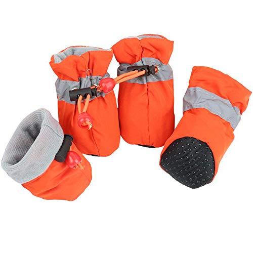 4PCS Zapatos de Invierno para Perros y Mascotas Botines Impermeables a la Lluvia y Nieve Calcetines Antideslizantes de Goma para Cachorros Pequeños Accesorios de Calzado,Orange,5