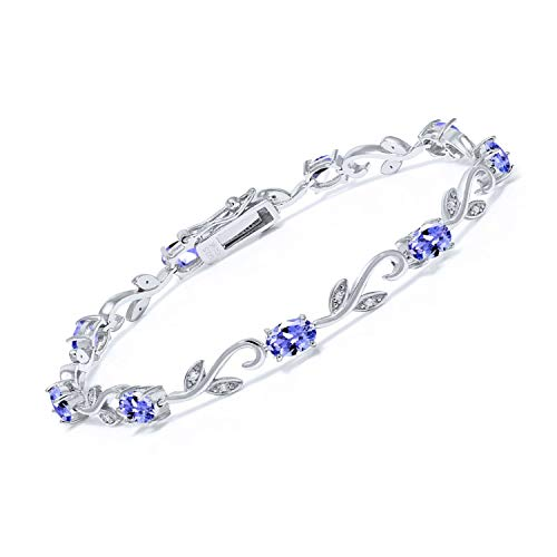 Gem Stone King 925 Sterling Silver 4.18 Ct Oval Blue Tanzanite Greek Vine Diamond 7 Inch Tennis Bracelet