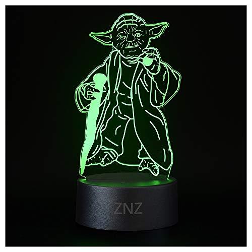 3D LED ilusión Luz de noche, Lámpara de Tres patrones y 16 colores Lámpara de decoración Cambio - Regalos perfectos para niños Mujer Hombres dia del padre (2-Yoda)