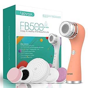 VOYOR 5 En 1 Recargable Cepillo Limpiador Facial Electrico Limpieza Facial Minimizador de Poros Removedor de Piel Muerta Cepillo Removedor de Maquillaje Cepillo Limpiador Corporal FB500 (Naranja)