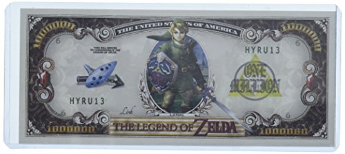 Legend of Zelda Million Dollar Bill in Collector Grade Currency Holder