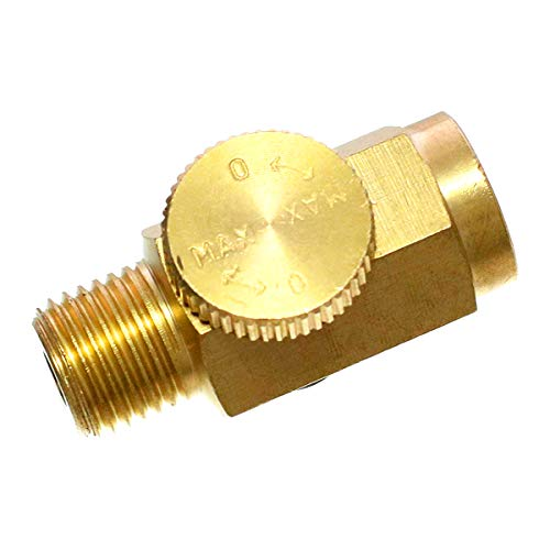Quickun Pneumatic Brass In-Line Air Flow Regulator Valve, 1/4' NPT Male & Female, Air Pressure Compressor Tool