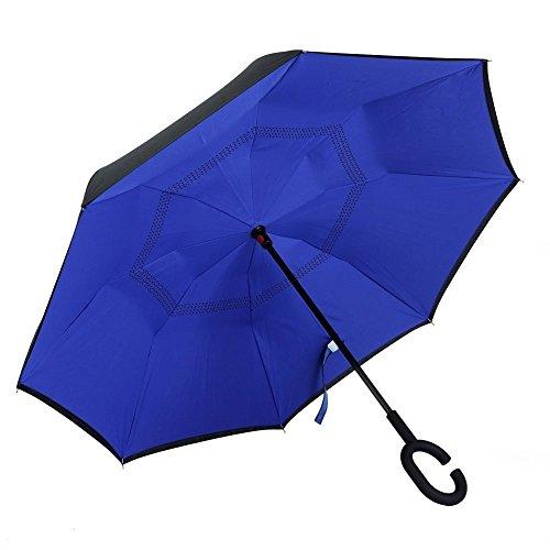 TRADE® Ombrello inverso, blu Ombrello di viaggio e 8 costole di Fibra Anti-vento Anti-ultravioletto proteggere piega Tutto il tempo Use auto ombrello Femmina e maschio