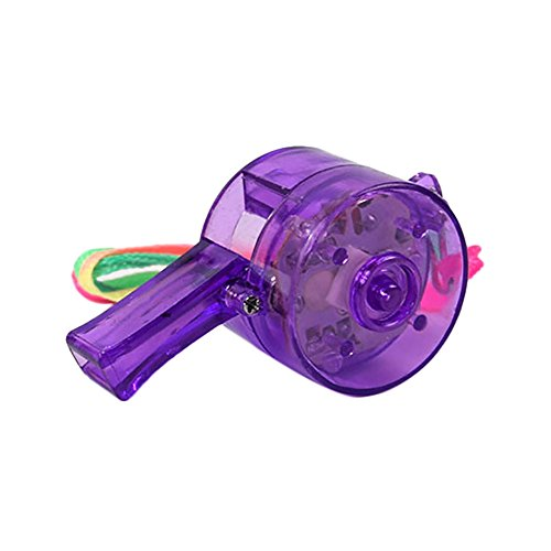 Flashing Whistle Colorful Lanyard LED Light Up Fun in The Dark Party Rave