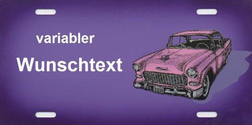 Namensschild US-Car Pink Cadillac selbst gestalten ✓ Witterungsbeständig ✓ Vielfarbig ✓ Ideale Geschenkidee | Individuelles Nummernschild, Aluminium-Schild | Autoschild mit Namen & Spruch selbst gestalten | Aluschild, Kfz-Kennzeichen-Schilder mit Wunschtext