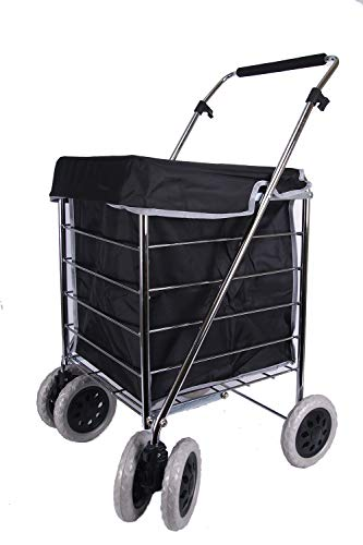 ST-NS-SIX-02 6 Wheels S Shopping Trolley with Adjustable Handle (Plain Black)