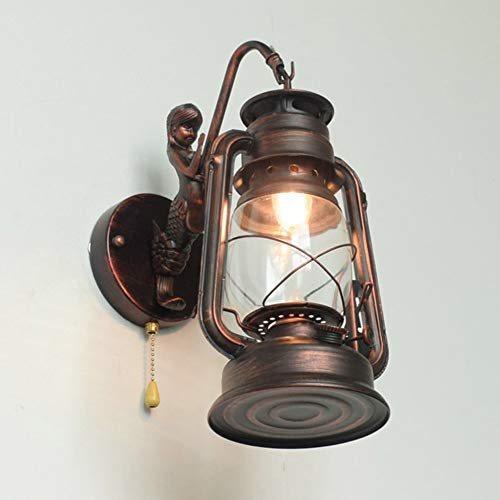Vintage Antike Wandleuchten E27 Petroleumlampe Innen Wandlampe mit Zugschalter, Retro Industrielle Wandlichter Wandbeleuchtung für Wohnzimmer/Restaurant/Hotels/Bar/Cafe/Loft,Messing