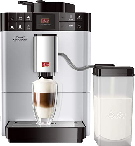 Melitta Caffeo Varianza CSP F570-101, Kaffeevollautomat mit Milchbehälter, One Touch Funktion, Silber