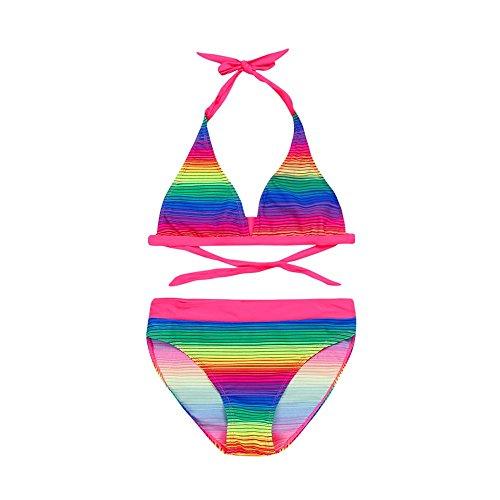 Bikini Filles,LuckyGirls 2PC Été Beach Dégradé Couleur Rayures Impression Halter Cravate Bikini Dos Nu Bikini Monokini Maillots + [Triangle] Combishort Shorts Maillot de Bain Ensemble 5-16 Ans
