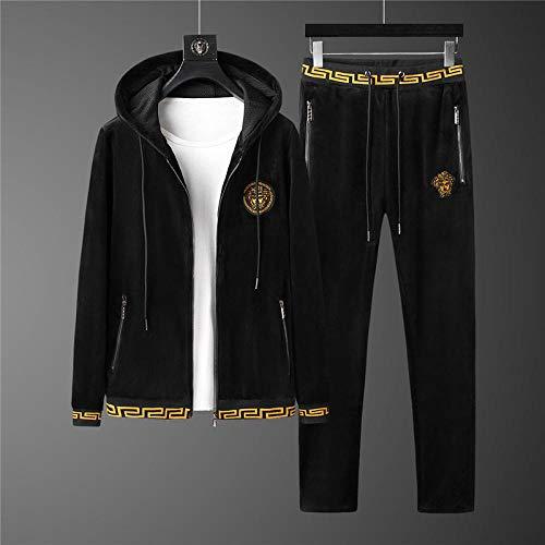 Herren Winter Kapuzenanzug Warm halten Trainingsset Herren Gold Velvet Outdoor Sportswear Set Warm halten Anzug Wintersport Zweiteiliger Anzug-XXL_018 schwarz